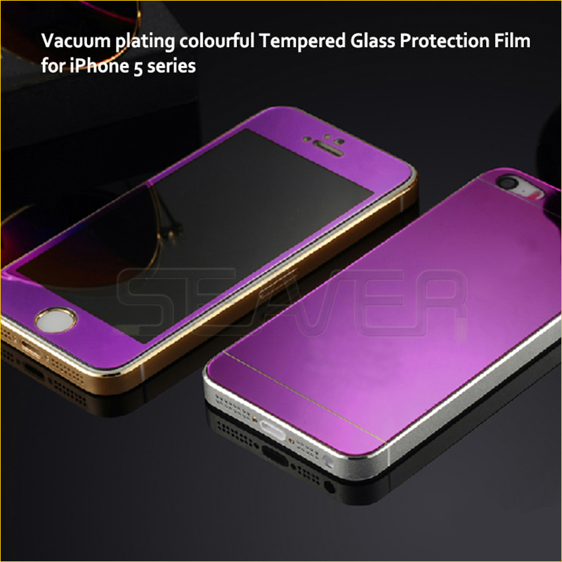 Front+back Full Screen Color Mirror Effect Mirror Tempered Glass Protector For Iphone 5 5s Screen Protector Film Free Shipping