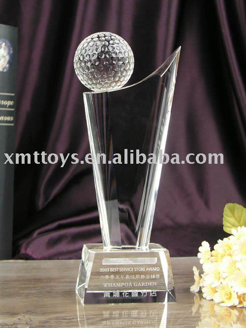crystal sports trophy