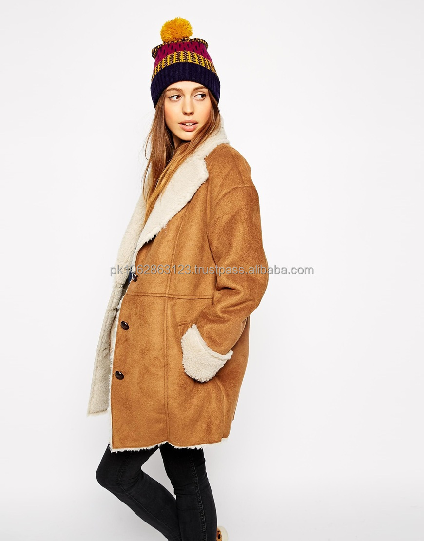 2014 Newly style ladies long winter leather coat with collar fur