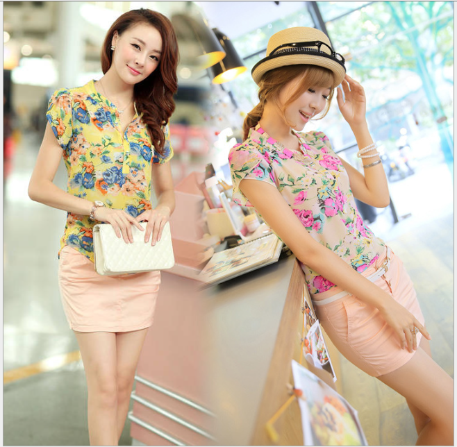 S31450A Women Fashion Blouse Feminine Flower Printed Blusa Front Short Back Tops Long Style Ladies Loose Women Shirt