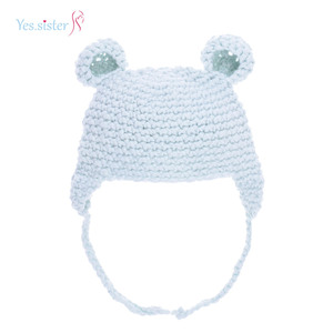 Light Blue Cotton Warm Hand Knitted Child Beanie Bear Animal Hat Factory In China