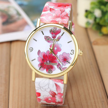 2015 multi colors florial lady wrist fashion sample design genuine cheap leather PU watch for women