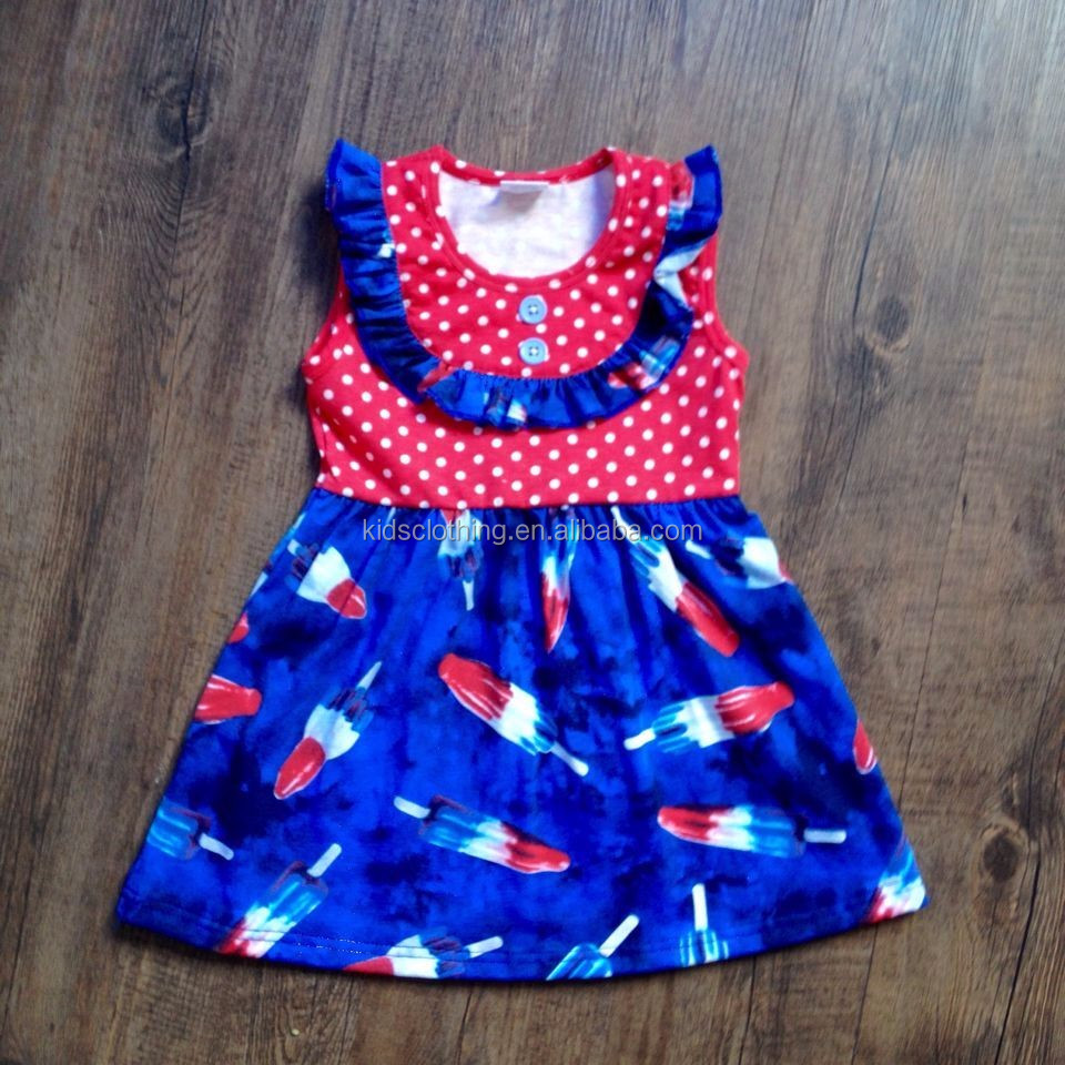 wholesale 4th of July girls dresses lovely independence day children latest fashion dress patriotic dress