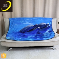 Dolphins printed warm soft flannel blankets for baby
