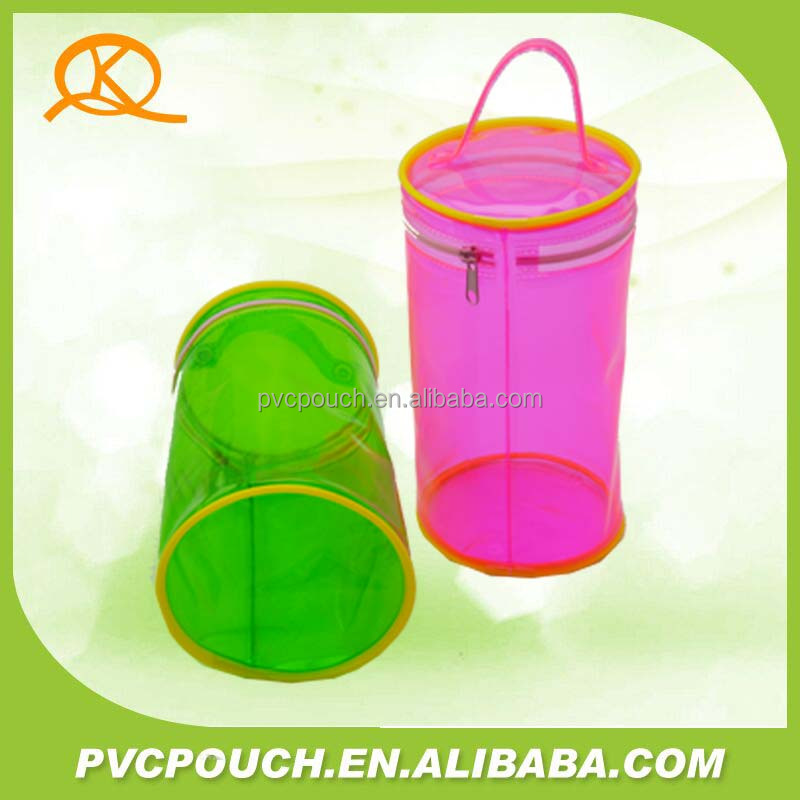 0.3mm 0.2mm Soft PVC plastic cylinder mini zipper carry pouch
