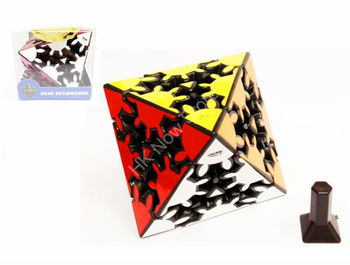 Magic Cube Timur Gear Corner Turning Octahedron with Gear Stickers Black Body