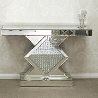 Diamond Accent Mirrored Floating Crystal Console