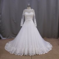 MM021 Beautiful lace appliqued wedding dress 2016 long sleeve backless bridal gowns