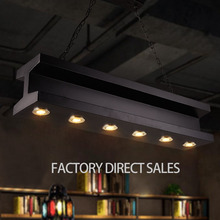 Loft industrial iron Pendant lamp with six head spotlight for Bar Cafe Clothing store