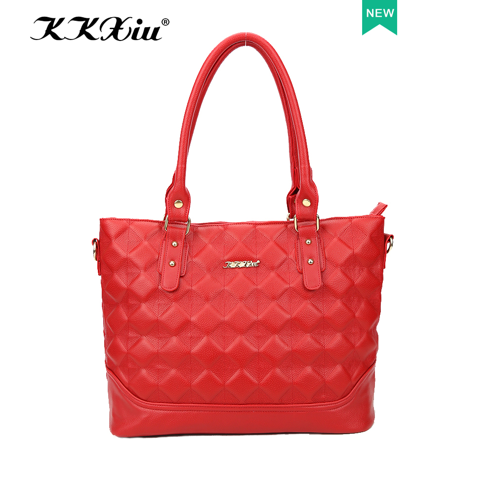 Sac a femme KKXIU low MOQ factory wholesale price hot sale tote bag style red ladies fashion PU bag in China