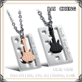 Square Pendant and Guitar Charm Jewelry for couple Stainless steel Necklace