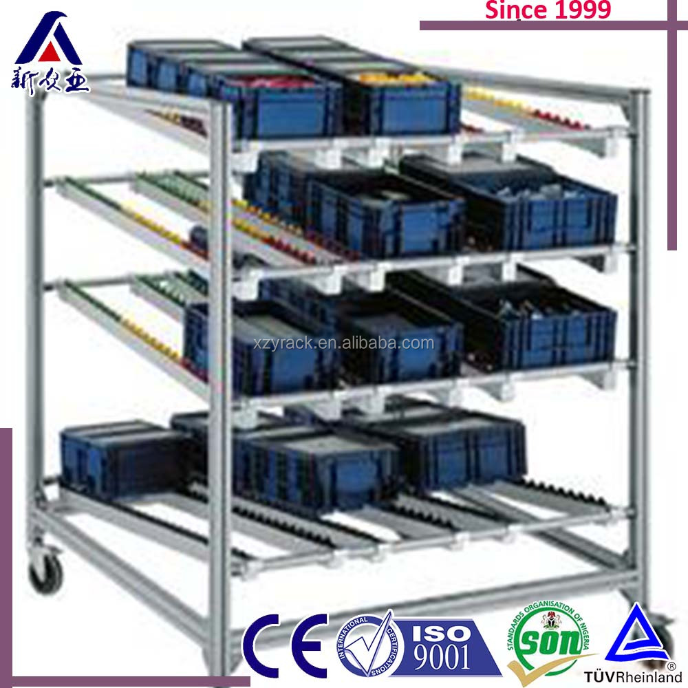 China manufacturer heavy duty high quality automated production line carton flow rack with wheels for warehouse storage