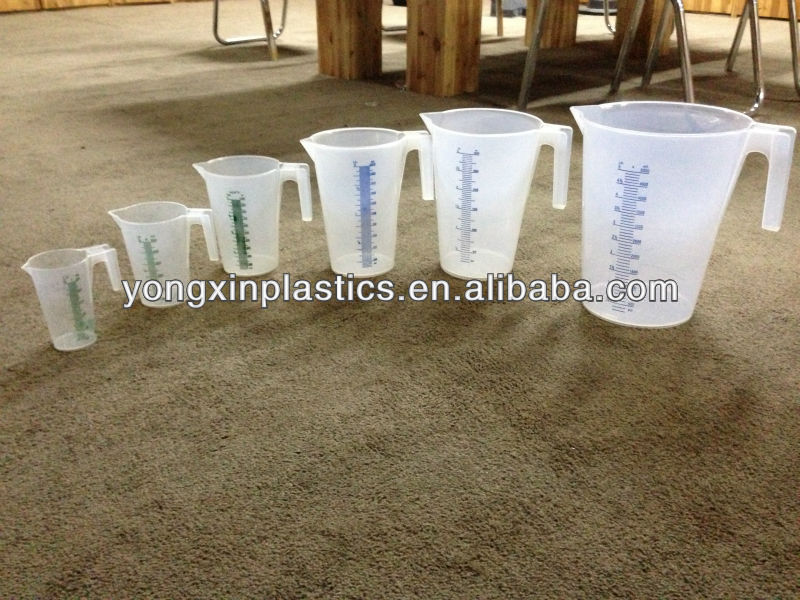 New plastic 6sets measuring cup(250ml,500ml,1000ml,2000ml,3000ml,5000ml)