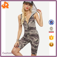Wholesale Fitness Clothing, Fitness Sport wear Cloths, Camouflage Print Hooded Zipper Front Jumpsuit