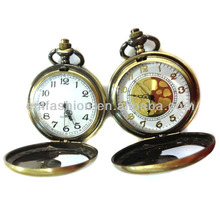 Fashion Cheap Antique Brass Teardrop Design Quartz Mechanical Pocket Watch
