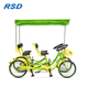 Fashion 4 seat quadricycle 4 person surrey bike/park rental sightseeing bike/24 inch tandem bikes