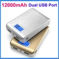 12000mAh Two USB Power Bank With LCD Display LED indication for Battery Status External Battery Phones Charger Backup Power