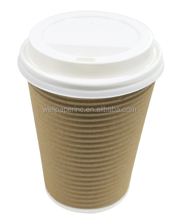 Disposable Insulated Ripple Hot Coffee Paper Cup with Cappuccino Lids, 12oz, Brown, 50 Count