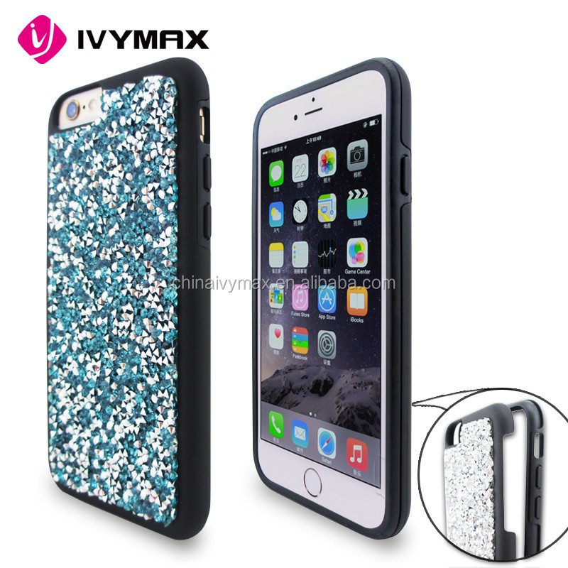 Fashion jewelry design bling diamond armor combo case for iphone 6s
