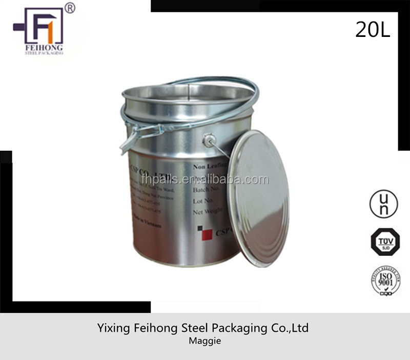 20 liter/litre stainless steel metal tin bucket/barrel with lid and handle for paint usage