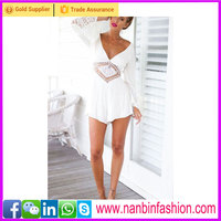 Long sleeve deep v white dress for women wholesale