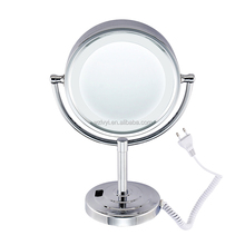 New hotsale LY-2208D chrome plating LED light table standing makeup mirror