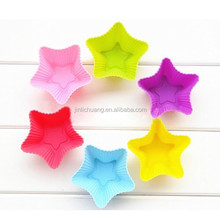 LFGB approved non-stick star shape kids silicone cupcake bakeware