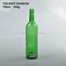 Round Green 750ml wholesale glass liquor wine bottles with screw top