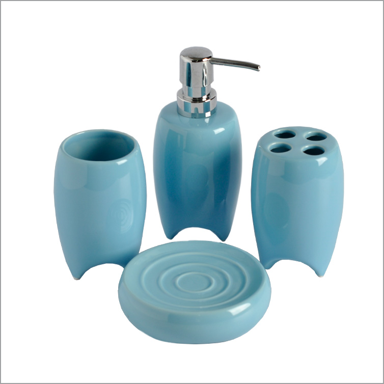 Home basics ceramic blue bathroom accessories set with unique base