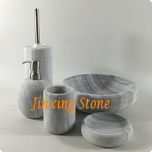 5pcs Marble Bath Ware Natural Stone Bathrooms Sets with Engraved Lines Marble Tray Soap Dispenser Soap Dish Toilet Brush Holder