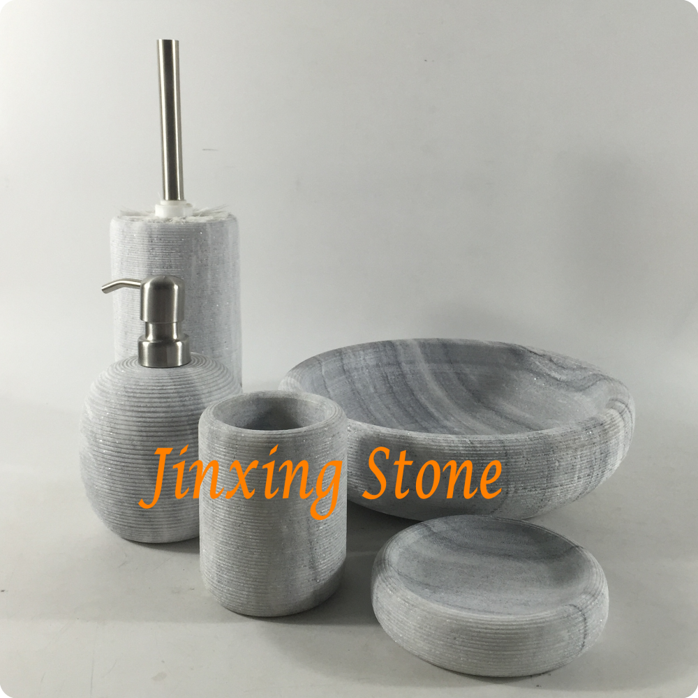 5pcs Set Grey Marble Bathroom Accessories With Engraved