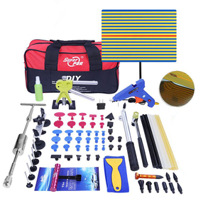Professional PDR 79pcs tools rubber hammer black tabs dent puller pdr car painless dent repair tool with red tool bag