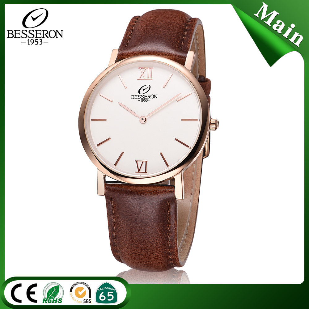 G15003 Stainless steel case genuine leather strap Japan movement quartz watch for <strong>men</strong>