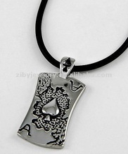 Stainless Steel / Black Cord / Ace Card Pendant / Men's Necklace