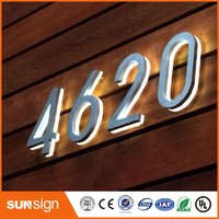 waterproof high quality led backlit stainless steel number
