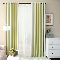 Polyester window curtains with plain fabric