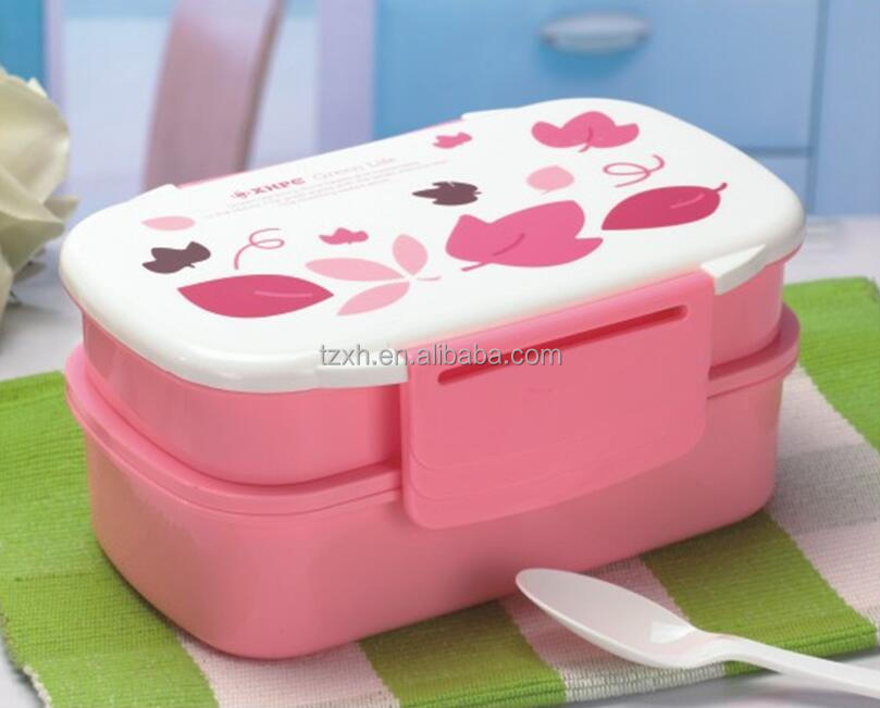 Cartoon double layer plastic children lunch box