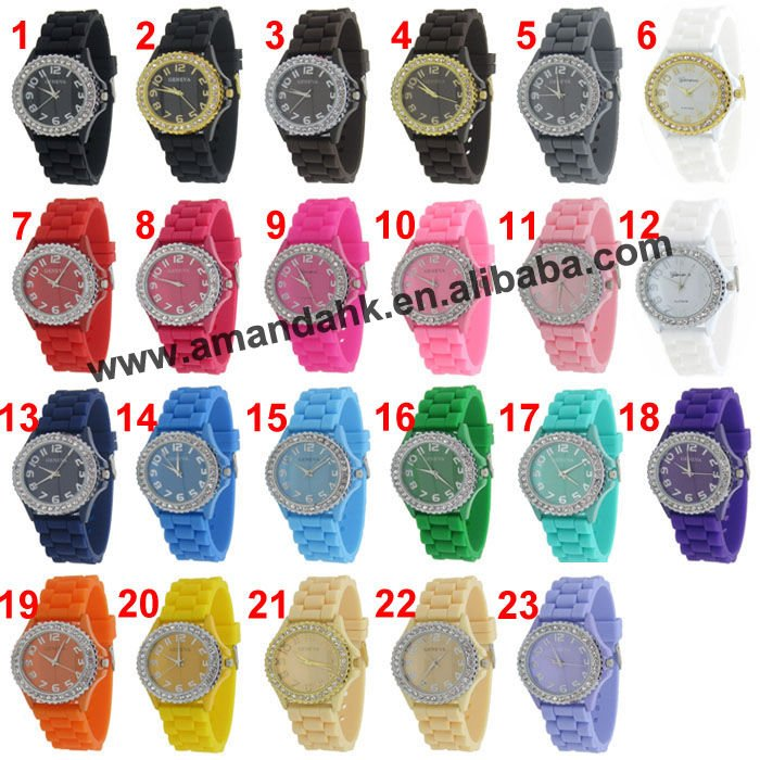2014 Wholesale Geneva Brand Watch Fashion Silicone Wrist Quartz Watch Candy Color Crystal Watch 26Colors 100pcs/lot