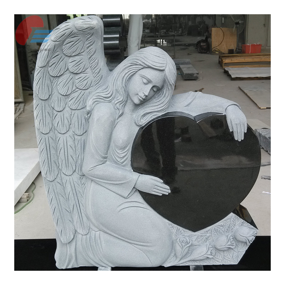 China Black Granite Angel Carving Headstone & Monument