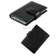 Black personalized business leather job card holder with plastic bag customized