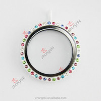 30MM zinc alloy mixed rhinestone white floating glass memory locket