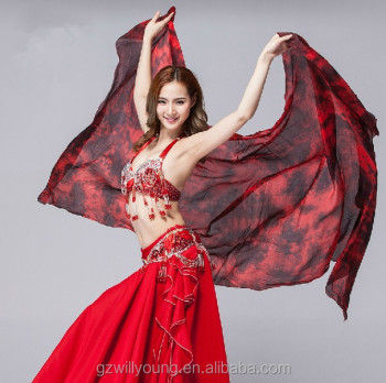 100% Sure Real Silk Fabric, Tie-dyed Belly Dance Silk Veils, Different Sizes Available, Tie-dyed Silk Fan Veils