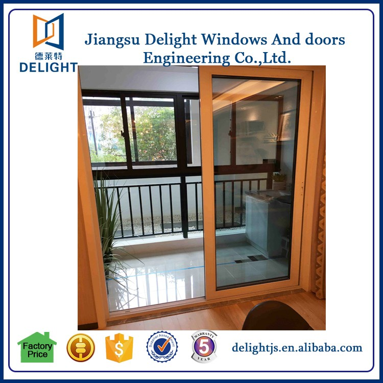 Powder coating finished sliding door window with large glass wall