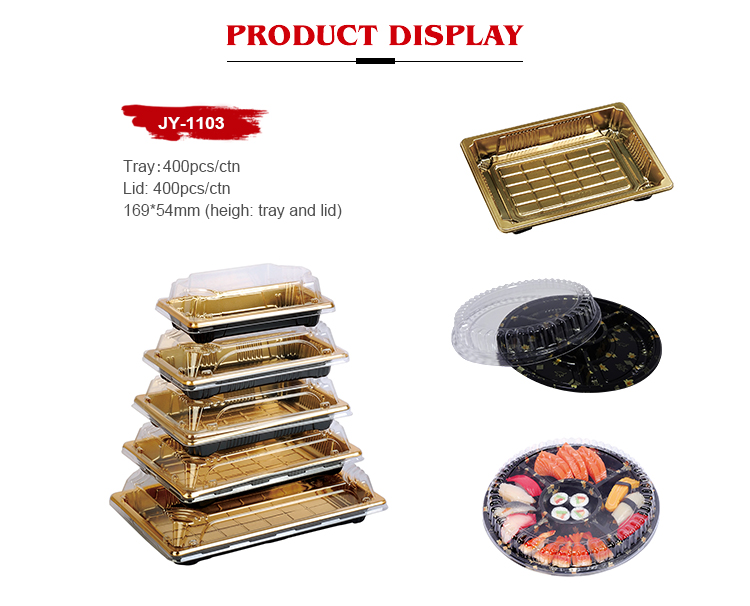 Disposable Rectangle Plastic Sushi Serving Tray Packaging Box