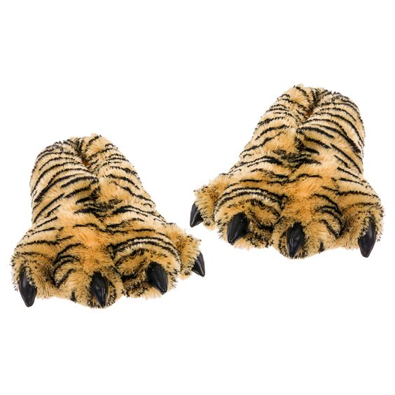 Furry Bengal Tiger animal paw shape Plush Slippers