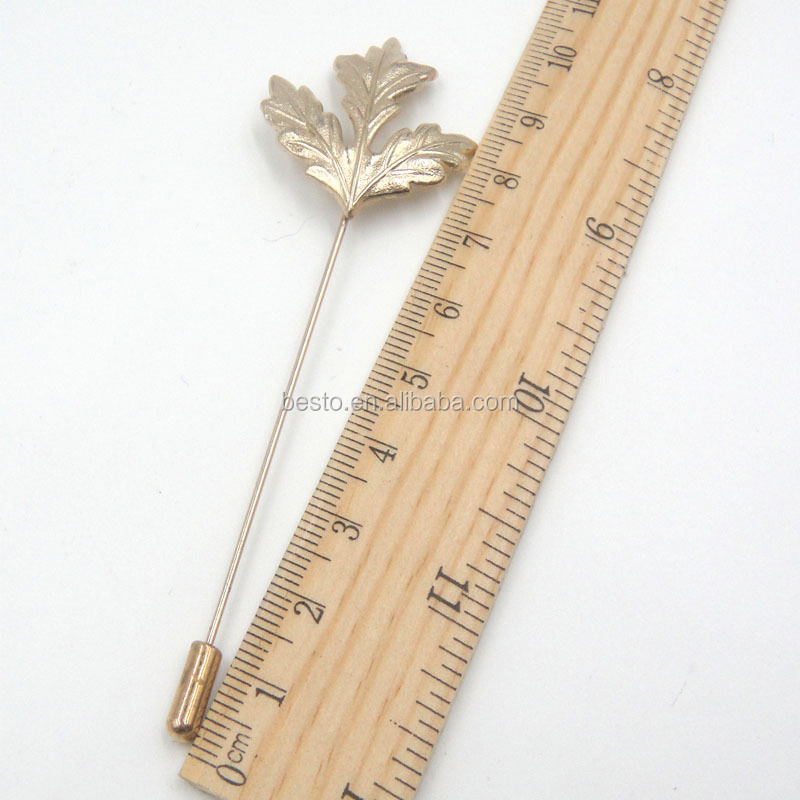 2016 large sell gold long needle lapel pin,leaf shape lapel pin