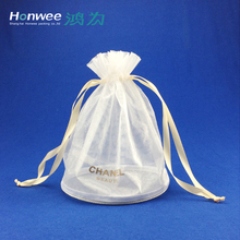 Custom Logo White Drawstring Mesh organza Cosmetic Bag With Round Bottom