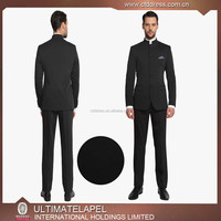 Traditional Stand Collar Custom Made 100% Wool Fabric Mens Suit