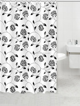 2015 black and white lace shower curtains