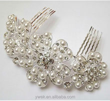 Bridal Wedding Jewelry Crystal Hair Comb Flowers Leaf Pearl Flowers tuck Comb Hairpin